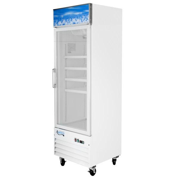 "Avantco GDC-12F-HC 27 1/8"" White Swing Glass Door Merchandiser Freezer with LED Lighting Main Image 1"
