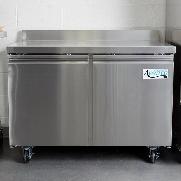 """Avantco SS-WT-48F-HC Two Door Worktop Freezer with 3 1/2"""" Backsplash Main Image 5"""