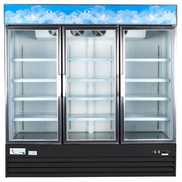 Avantco GDC-69-HC 78 1/4 inch Black Swing Glass Door Merchandiser Refrigerator with LED Lighting