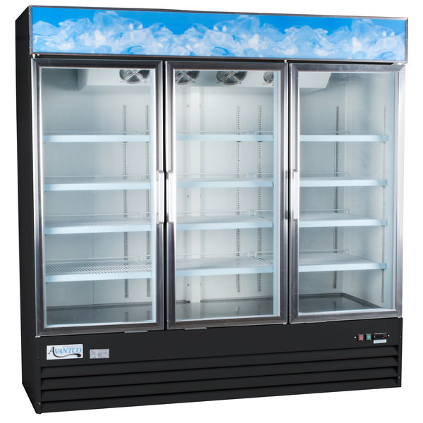 "Avantco GDC-69-HC 78 1/4"" Black Swing Glass Door Merchandiser Refrigerator with LED Lighting Main Image 1"