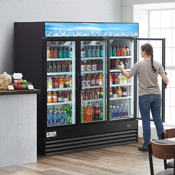 "Avantco GDC-69-HC 78 1/4"" Black Swing Glass Door Merchandiser Refrigerator with LED Lighting Main Image 7"