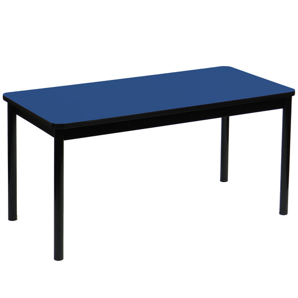 """Correll LR3048-37 30"""" x 48"""" Blue Library Table - 29"""" Height Main Image 1"""