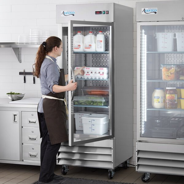 "Avantco SS-1R-G-HC 29"" Stainless Steel Glass Door Reach-In Refrigerator Main Image 6"