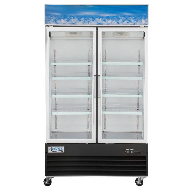 Avantco GDC-40-HC 48 inch Black Swing Glass Door Merchandiser Refrigerator with LED Lighting
