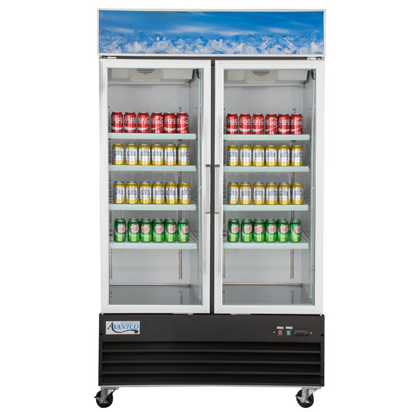 "Avantco GDC-40-HC 48"" Black Swing Glass Door Merchandiser Refrigerator with LED Lighting"