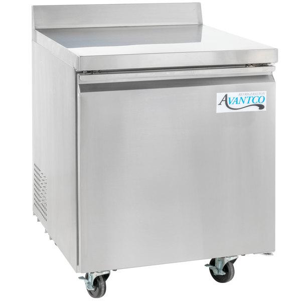 "Avantco SS-WT-27R-HC 27"" Worktop Refrigerator with 3 1/2"" Backsplash"