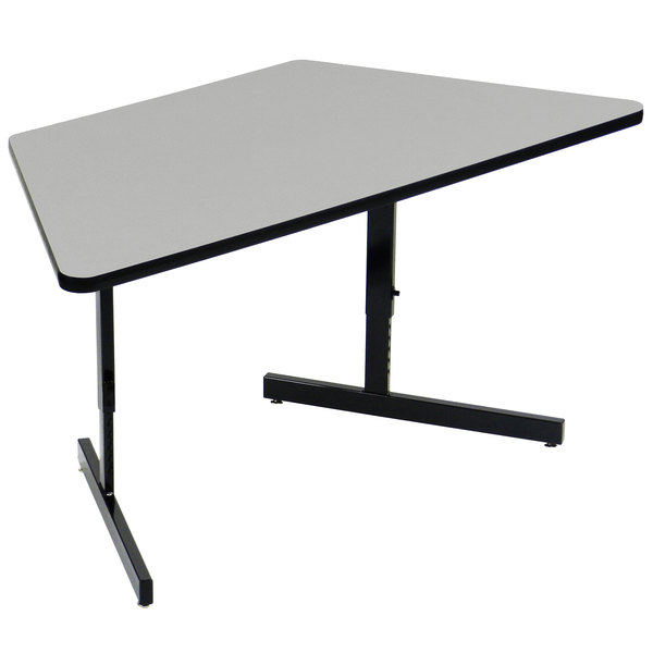 """Correll CSA3060MTR EconoLine 30"""" x 60"""" Trapezoid Gray Granite Melamine Top Adjustable Height Computer and Training Table Main Image 1"""