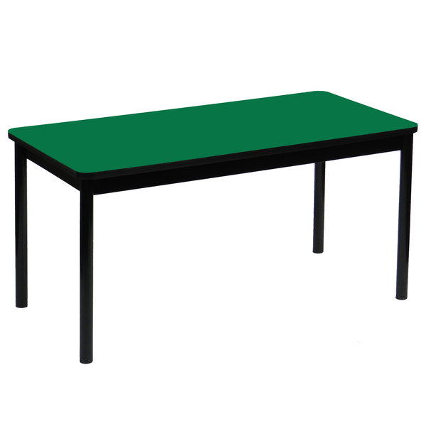 """Correll LR3048-39 30"""" x 48"""" Green Library Table - 29"""" Height"""
