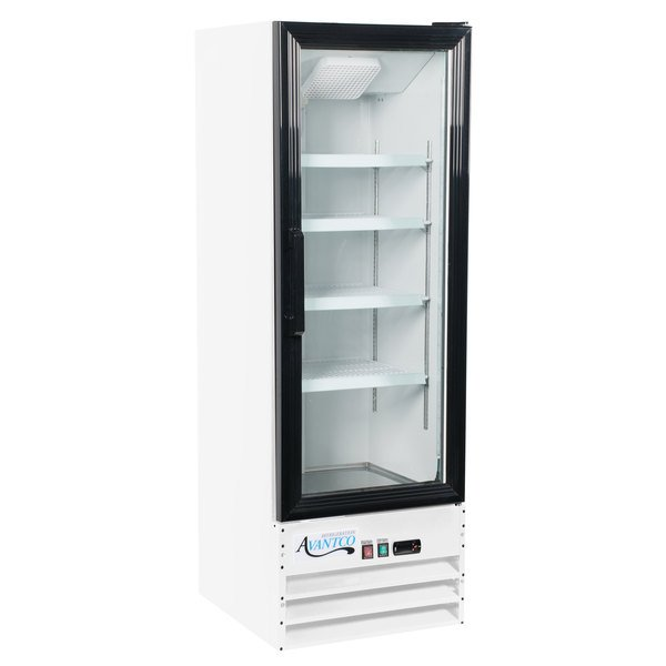 "Avantco GDC-10-HC 21 5/8"" White Swing Glass Door Merchandiser Refrigerator with LED Lighting Main Image 1"