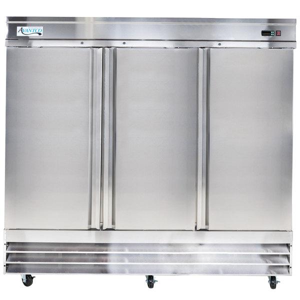 """Avantco SS-3F-HC 80 7/8"""" Stainless Steel Solid Door Reach-In Freezer Main Image 1"""