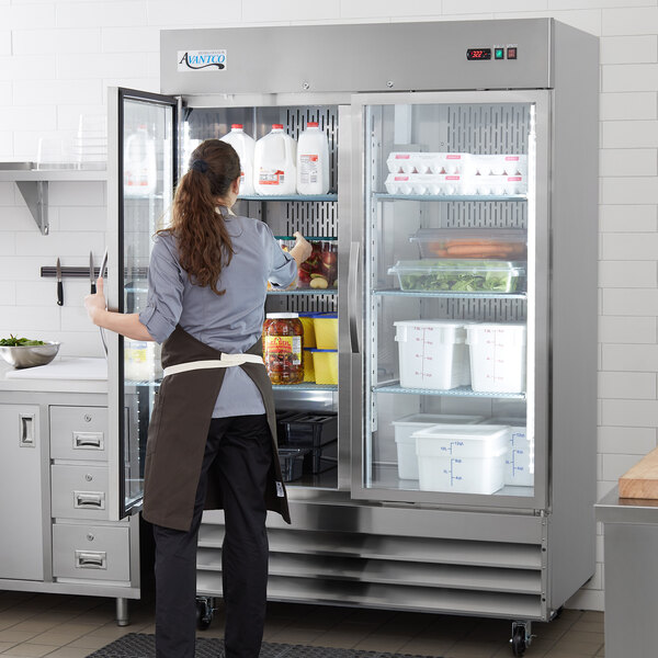"Avantco SS-2R-G-HC 54"" Stainless Steel Glass Door Reach-In Refrigerator Main Image 6"