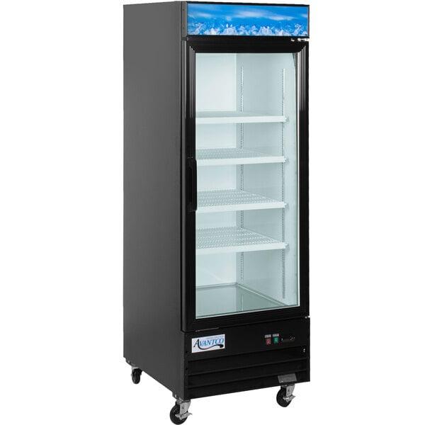 "Avantco GDC-23-HC 28 3/8"" Black Swing Glass Door Merchandiser Refrigerator with LED Lighting Main Image 1"