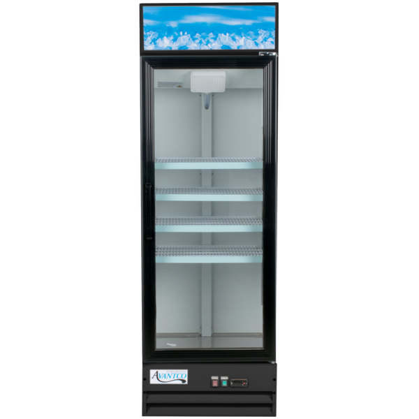 Avantco GDC-15-HC 25 5/8 inch Black Swing Glass Door Merchandiser Refrigerator with LED Lighting