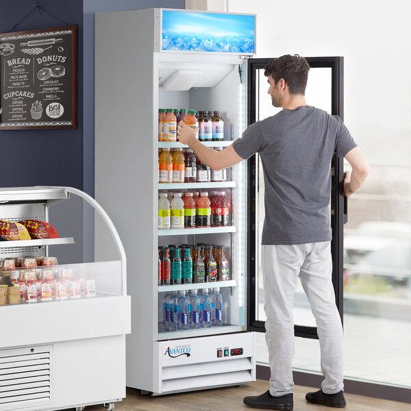 "Avantco GDC-15-HC 25 5/8"" White Swing Glass Door Merchandiser Refrigerator with LED Lighting Main Image 6"