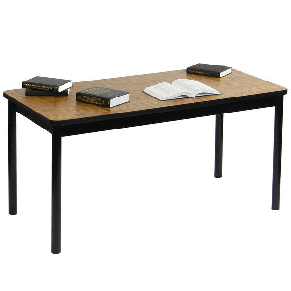 "Correll LR3672-06 36"" x 72"" Medium Oak Library Table - 29"" Height Main Image 3"