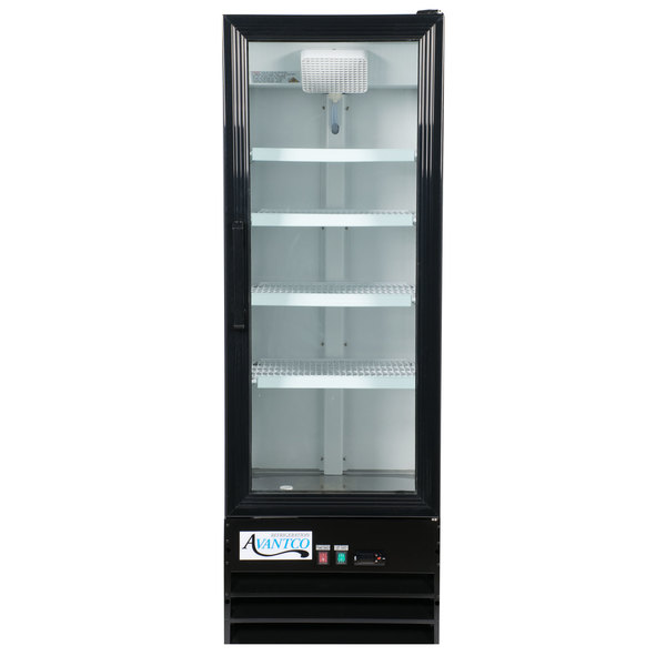 Avantco Gdc 10 Hc 21 5 8 Black Swing Glass Door Merchandiser Refrigerator With Led Lighting