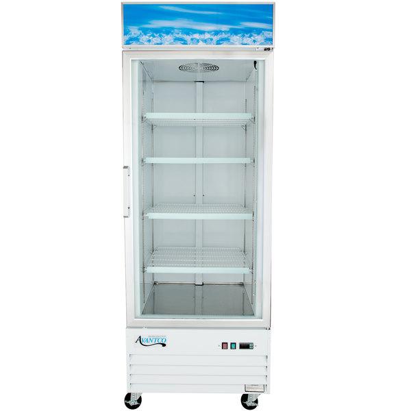 "Avantco GDC-24F-HC 31 1/8"" White Swing Glass Door Merchandiser Freezer with LED Lighting"