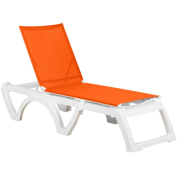 Grosfillex US476019 Calypso White / Orange Stacking Adjustable Resin Sling Chaise - 16/Case Main Image 1
