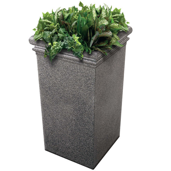 "Commercial Zone 724119 StoneTec 19"" x 19"" x 33"" Pepperstone Tall Planter Main Image 1"