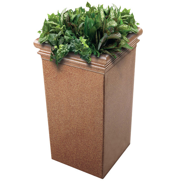 "Commercial Zone 724121 StoneTec 19"" x 19"" x 33"" Sedona Tall Planter"