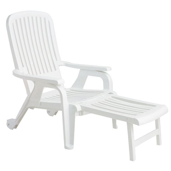 Grosfillex Us658004 White Bahia Stacking Resin Chair With Pull Out Footrest 2 Pack