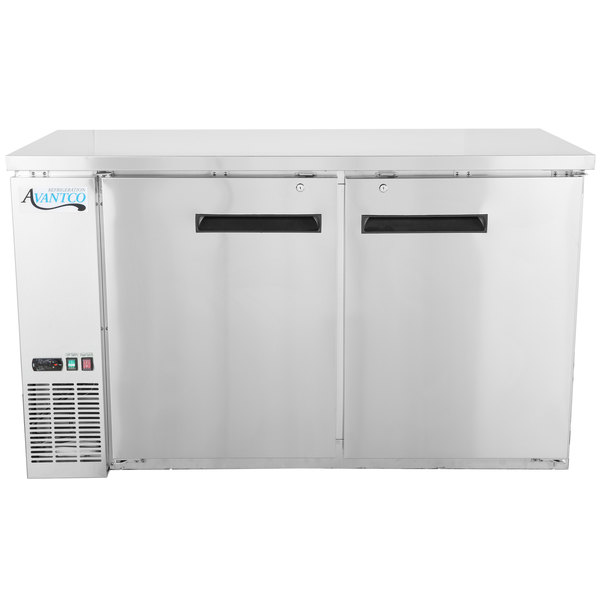 "Avantco UBB-60-HC-S 60"" Stainless Steel Counter Height Narrow Solid Door Back Bar Refrigerator with LED Lighting"