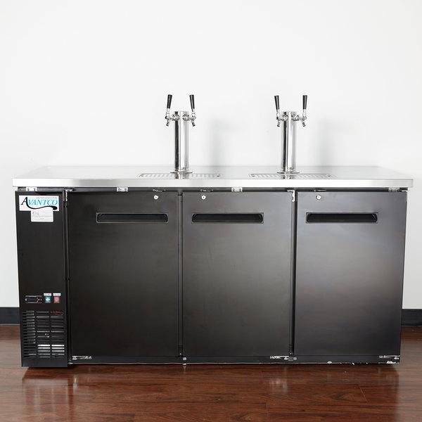 Avantco UDD 72 HC (2) Double Tap Kegerator Beer Dispenser   Black, (3) 1/2  Keg Capacity