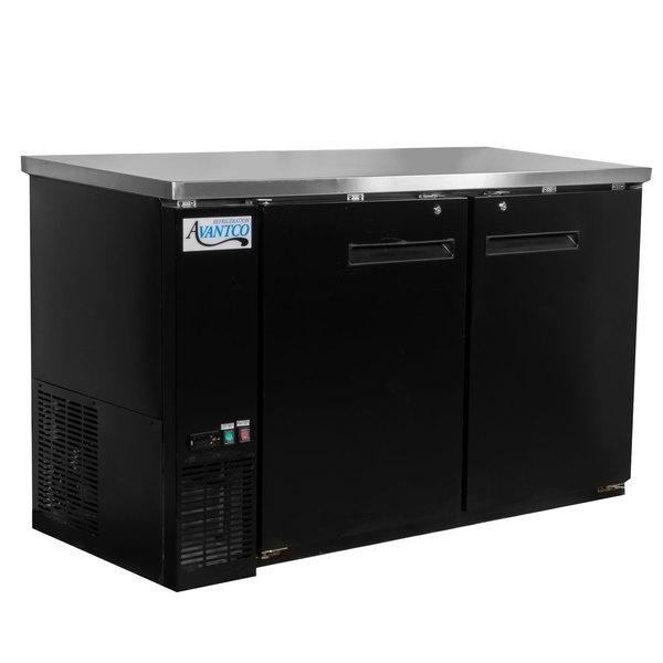 "Avantco UBB-60-HC 60"" Black Counter Height Narrow Solid Door Back Bar Refrigerator with LED Lighting"