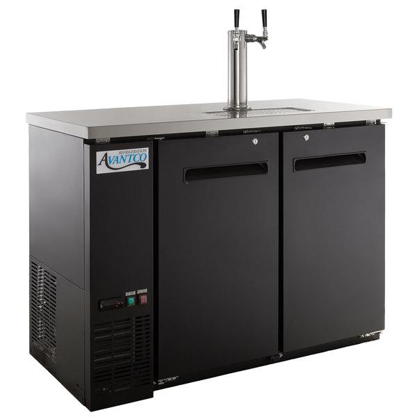 Avantco UDD-48-HC Double Tap Kegerator Beer Dispenser - Black, (2) 1/2 Keg Capacity