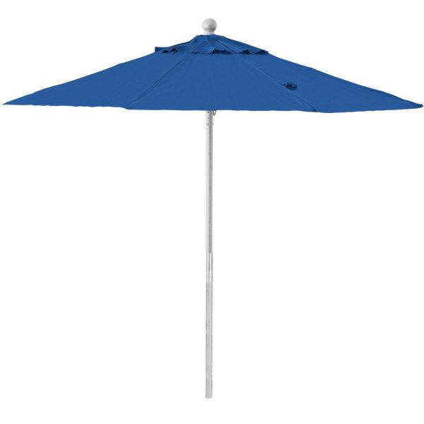 """Grosfillex 98279731 7 1/2' Pacific Blue Round Push Up Umbrella with 1 1/2"""" Aluminum Pole"""