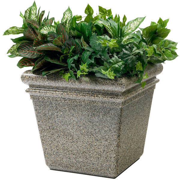 "Commercial Zone 724020 StoneTec 18"" x 18"" Riverstone Planter Main Image 1"