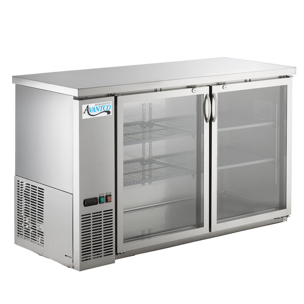 Avantco Ubb 60g Hc S 60 Stainless Steel Counter Height Narrow Gl Door Back Bar Refrigerator With Led Lighting
