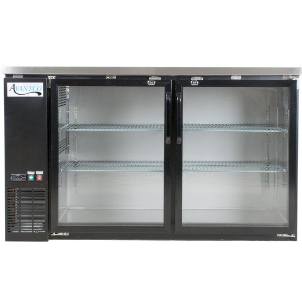 Avantco UBB-60G-HC 60 inch Black Narrow Glass Door Undercounter Back Bar Refrigerator with LED Lighting