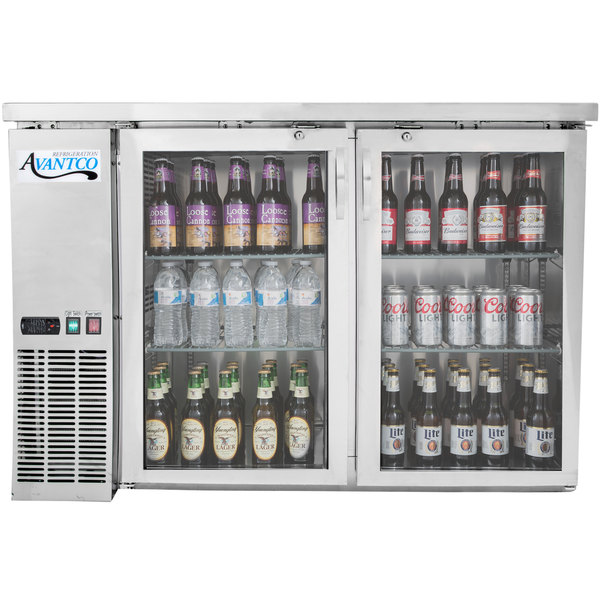 """Avantco UBB-48G-HC-S 48"""" Stainless Steel Counter Height Narrow Glass Door Back Bar Refrigerator with LED Lighting"""