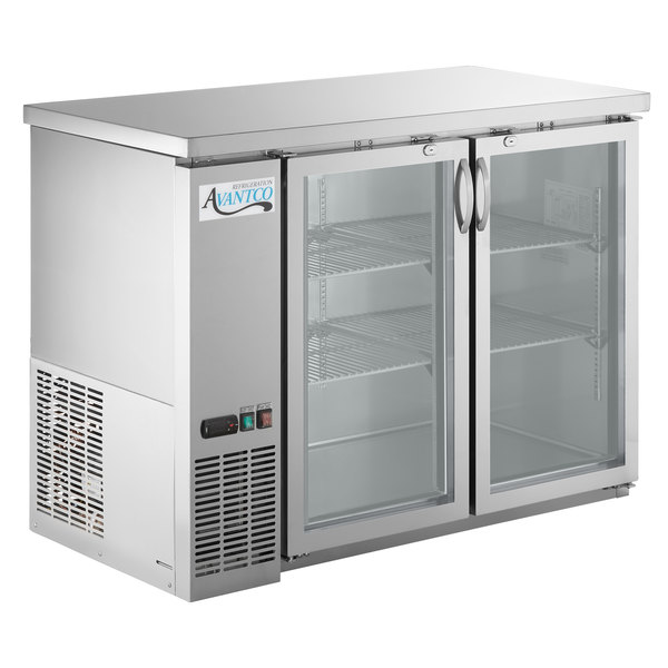 Avantco Ubb 48g Hc S 48 Stainless Steel Counter Height Narrow Gl Door Back Bar Refrigerator With Led Lighting
