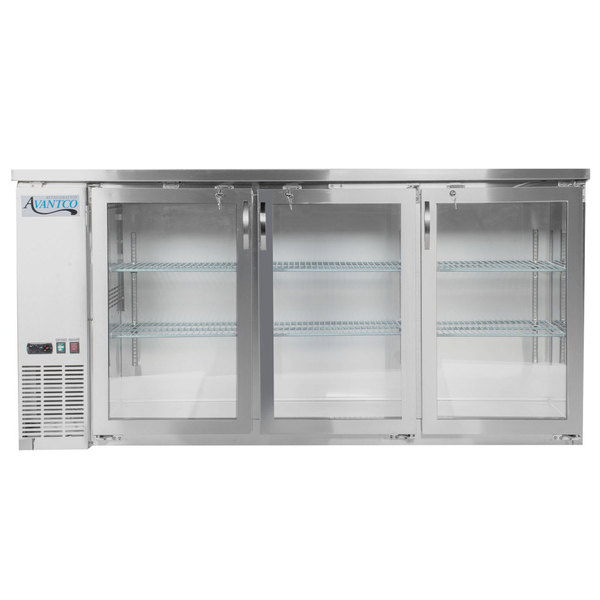 "Avantco UBB-72G-HC-S 73"" Stainless Steel Counter Height Narrow Glass Door Back Bar Refrigerator with LED Lighting"