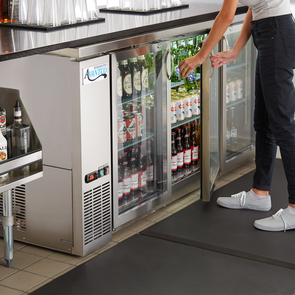 """Avantco UBB-72G-HC-S 73"""" Stainless Steel Counter Height Narrow Glass Door Back Bar Refrigerator with LED Lighting Main Image 6"""