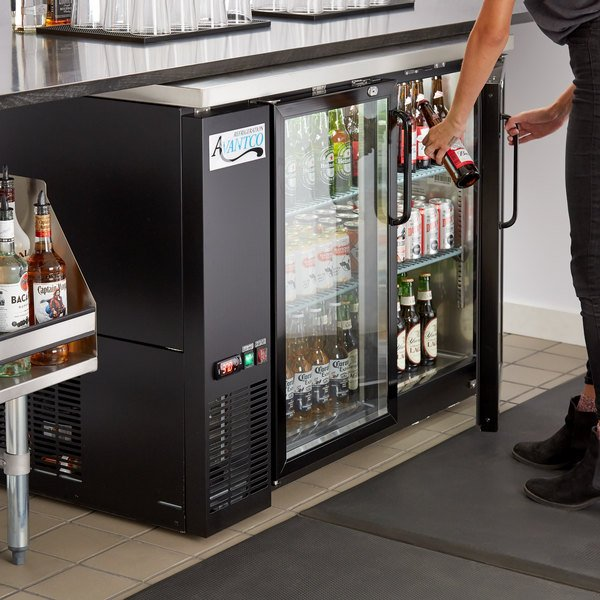 "Avantco UBB-48G-HC 48"" Black Counter Height Narrow Glass Door Back Bar Refrigerator with LED Lighting"