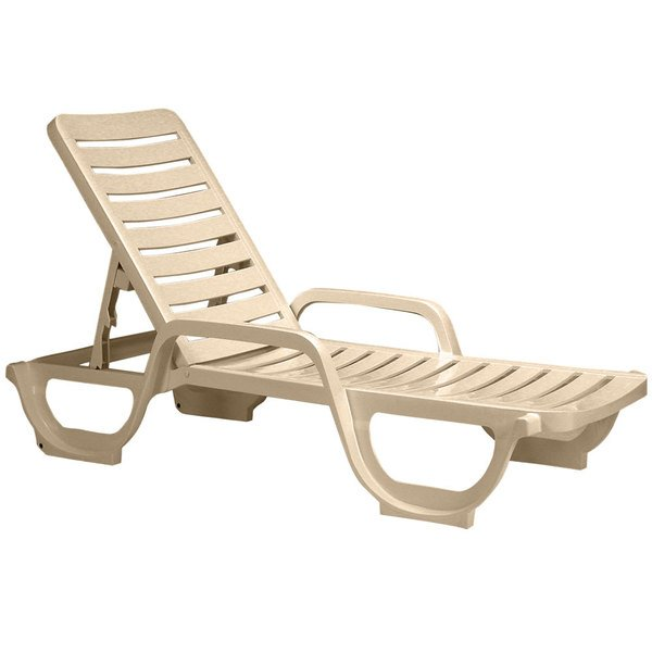 Grosfillex US031066 Bahia Sandstone Stacking Adjustable Resin Chaise - 2/Pack Main Image 1