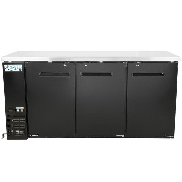 Avantco UBB-72-HC 73 inch Black Narrow Solid Door Undercounter Back Bar Refrigerator with LED Lighting