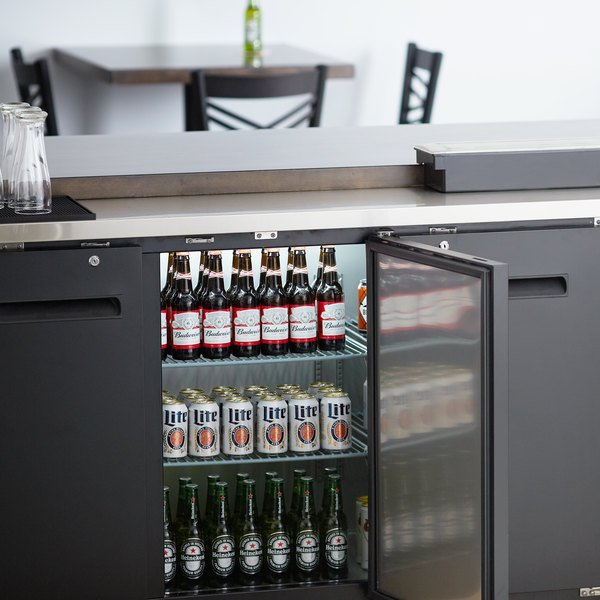 "Avantco UBB-72-HC 73"" Black Counter Height Narrow Solid Door Back Bar Refrigerator with LED Lighting Main Image 6"