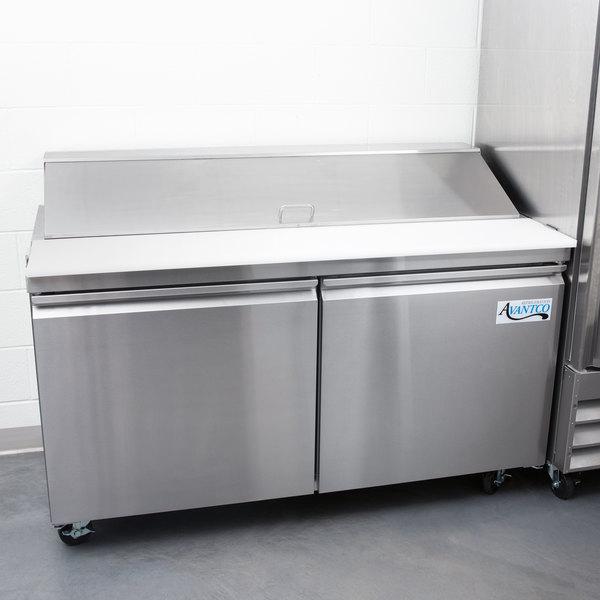 "Avantco SS-PT-60 60"" 2 Door Stainless Steel Refrigerated Sandwich Prep Table"