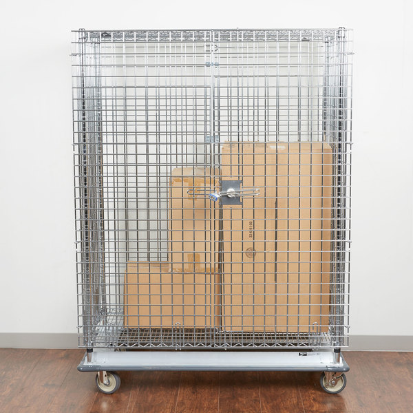 """Metro SEC55LC Chrome Mobile Heavy Duty Wire Security Cabinet - 50 1/2"""" x 28 1/16"""" x 68 1/2"""""""