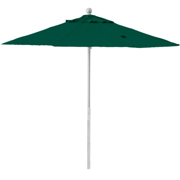 """Grosfillex 98272031 7 1/2' Forest Green Round Push Up Umbrella with 1 1/2"""" Aluminum Pole Main Image 1"""