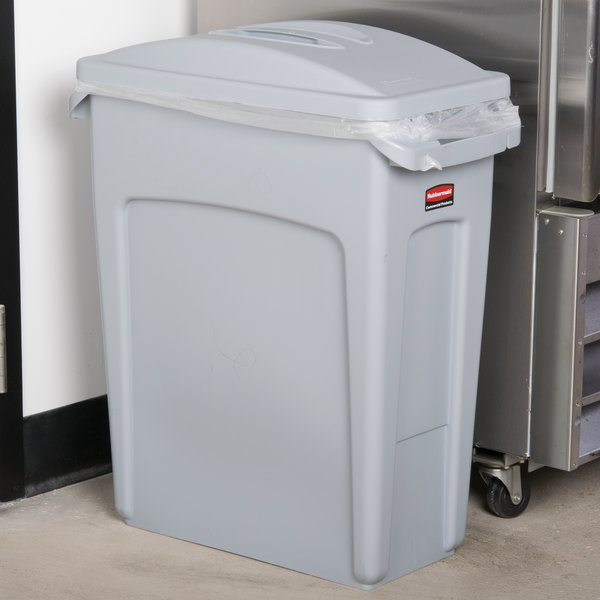 Rubbermaid Slim Jim 16 Gallon Light Gray Trash Can with Light Gray Handled Lid