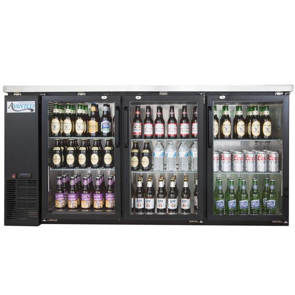 "Avantco UBB-72G-HC 73"" Black Counter Height Narrow Glass Door Back Bar Refrigerator with LED Lighting"