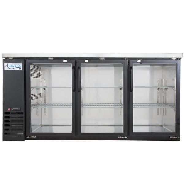 Avantco UBB-72G-HC 72 inch Black Narrow Glass Door Undercounter Back Bar Refrigerator with LED Lighting