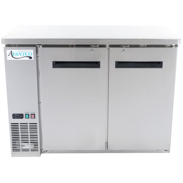 """Avantco UBB-48-HC-S 48"""" Stainless Steel Counter Height Narrow Solid Door Back Bar Refrigerator with LED Lighting"""