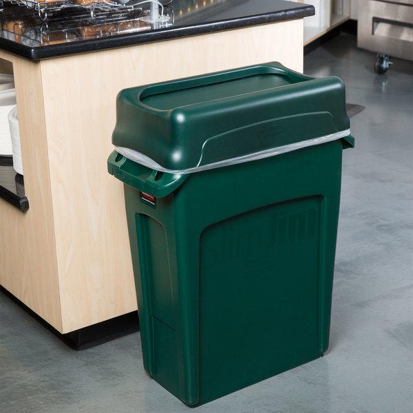 Rubbermaid Slim Jim 16 Gallon Green Trash Can with Green Swing Lid