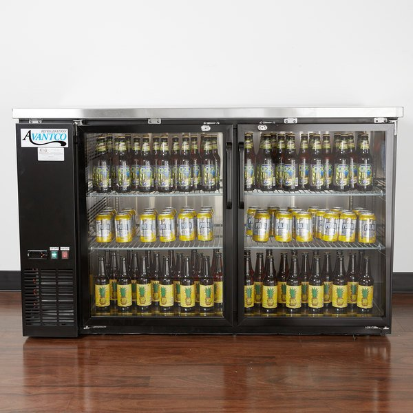 "Avantco UBB-2G-HC 59"" Black Counter Height Glass Door Back Bar Refrigerator with LED Lighting Main Image 4"